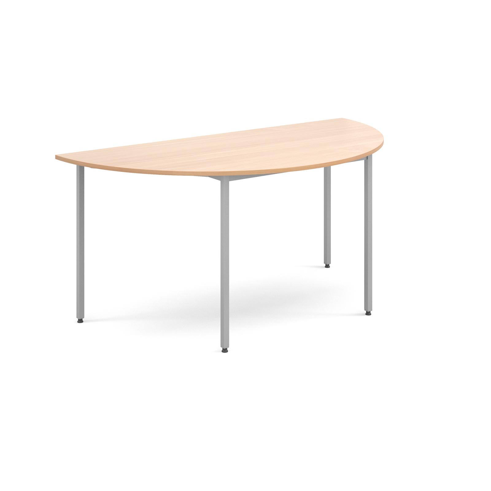 Semi circular flexi table with silver frame