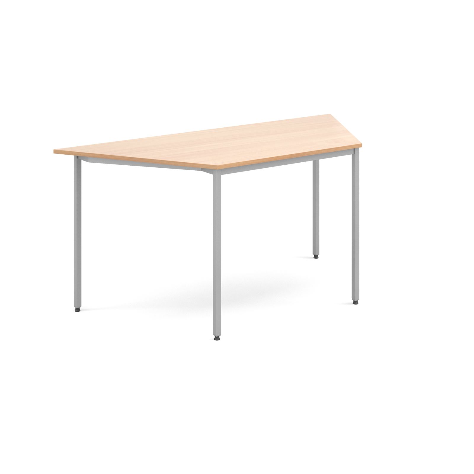 Trapezoidal flexi table with silver frame