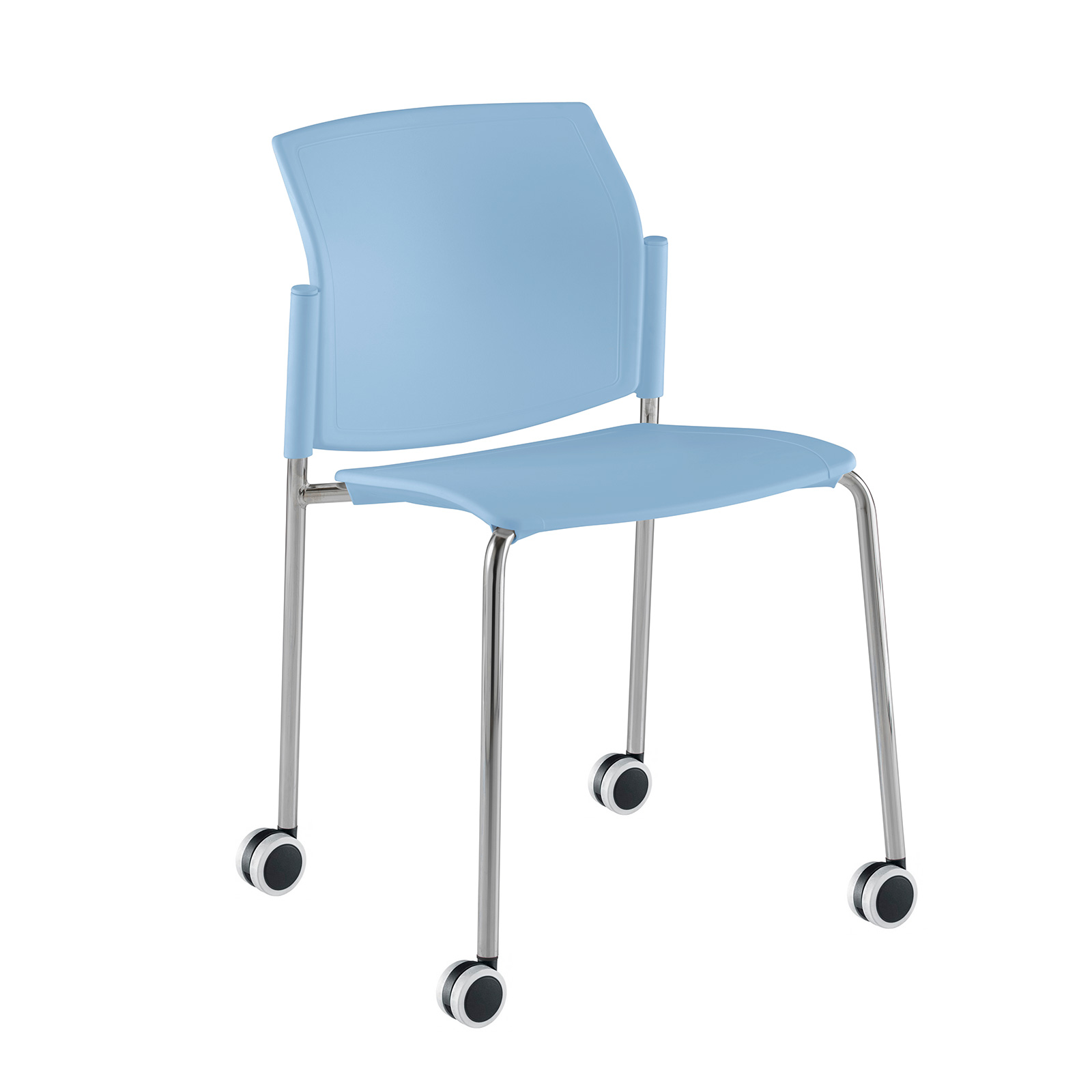 Santana 4 leg mobile chair with plastic seat and back
