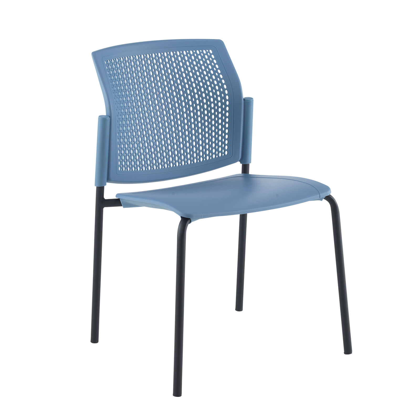 Santana 4 leg stacking chair with plastic seat and perforated back