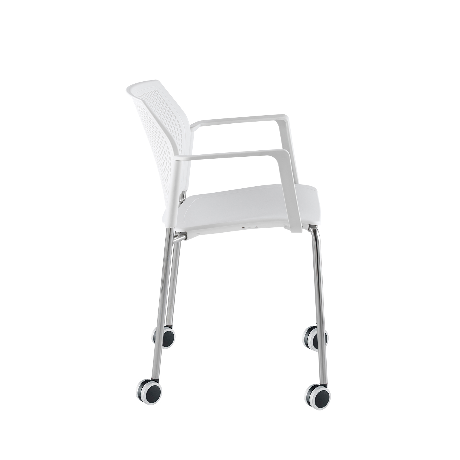 Santana 4 leg mobile chair with plastic seat and perforated back