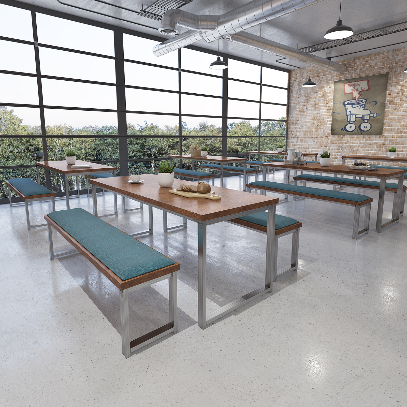 Otto Urban Industrial Benching Solution Dining Table